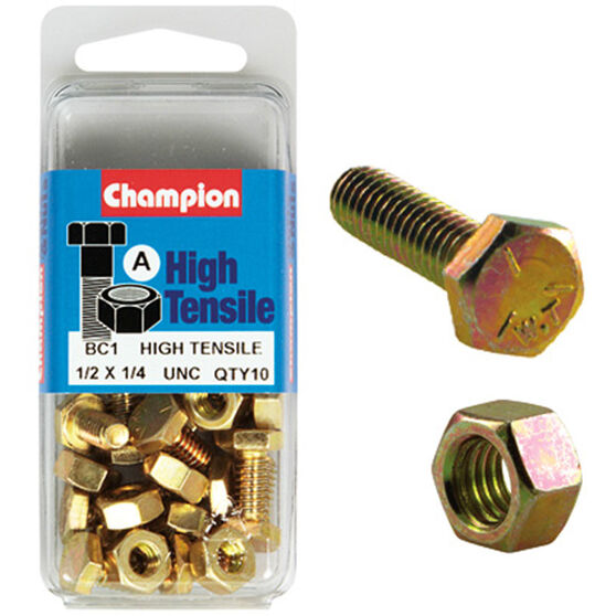 Champion High Tensile Bolts and Nuts - UNC 1 / 2inch X 1 / 4inch, , scanz_hi-res