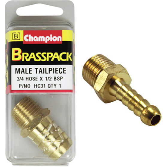 Champion Male Hose Barb - 3 / 4inch X 1 / 2inch, Brass, , scanz_hi-res