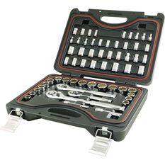 ToolPRO Socket Set - 1 / 4 inch, 3 / 8 inch and 1 / 2 inch Drive, Metric / Imperial, 59 Piece, , scanz_hi-res