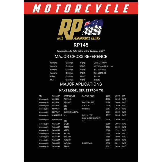 Race Performance Motorcycle Oil Filter RP145, , scanz_hi-res