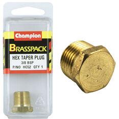 Champion Hex Taper Plug - 3 / 8inch, Brass, , scanz_hi-res