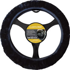 Cloud Steering Wheel Cover - Sheepskin, Black, 380mm diameter, , scanz_hi-res