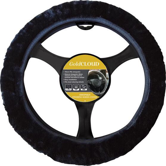 Cloud Steering Wheel Cover - Sheepskin, Black, 380mm diameter, , scanz_hi-res