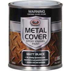 Metal Cover Rust Paint - Enamel, Matt Black, 500mL, , scanz_hi-res
