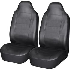 Leather Look Seat Covers - Black, Built-in Headrests, Size 60, Front Pair, Airbag Compatible, , scanz_hi-res