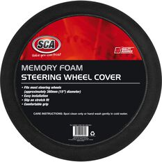 SCA Steering Wheel Cover - Memory Foam, Black, 380mm diameter, , scanz_hi-res