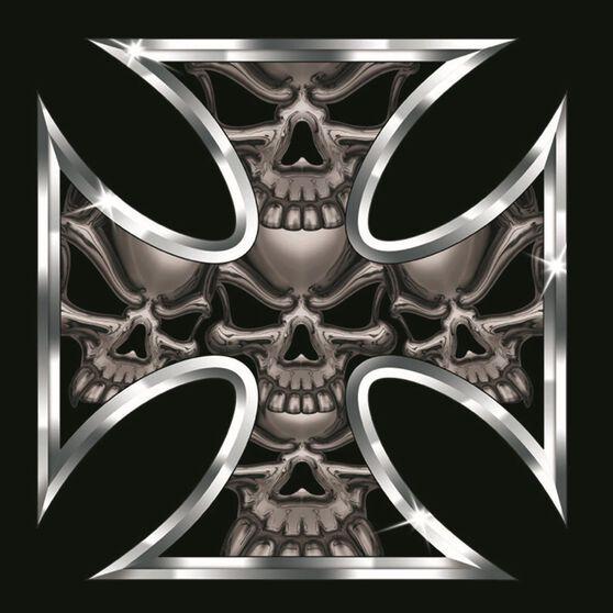 Hot Stuff Sticker - Iron Cross Skull, Chrome, , scanz_hi-res