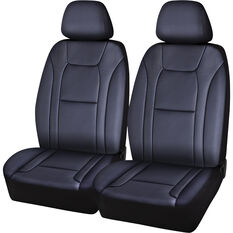 SCA Leather Look Seat Covers - Black / Carbon, Adjustable Headrests, Size 30, Front Pair, Airbag Compatible, , scanz_hi-res