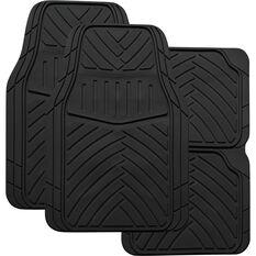 Stripes Car Floor Mats - Black, Set of 4, Synthetic Rubber, , scanz_hi-res