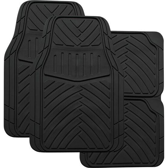 SCA Stripes Car Floor Mats - Synthetic Rubber, Black, Set of 4, , scanz_hi-res