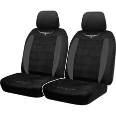 R.M.Williams Suede Velour Seat Covers - Black, Adjustable Headrests, Size 30, Front Pair, Airbag Compatible, , scanz_hi-res