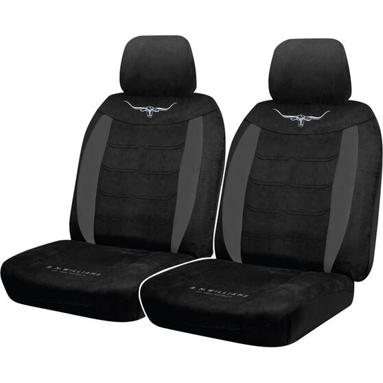 R.M.Williams Suede Velour Seat Covers - Black Adjustable Headrests Size 30 Front Pair Airbag Compatible, , scanz_hi-res