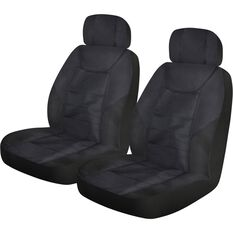 Ridge Ryder Heavy Duty Rip-X Canvas Seat Covers - Black, Adjustable Headrest, Airbag Compatible, , scanz_hi-res