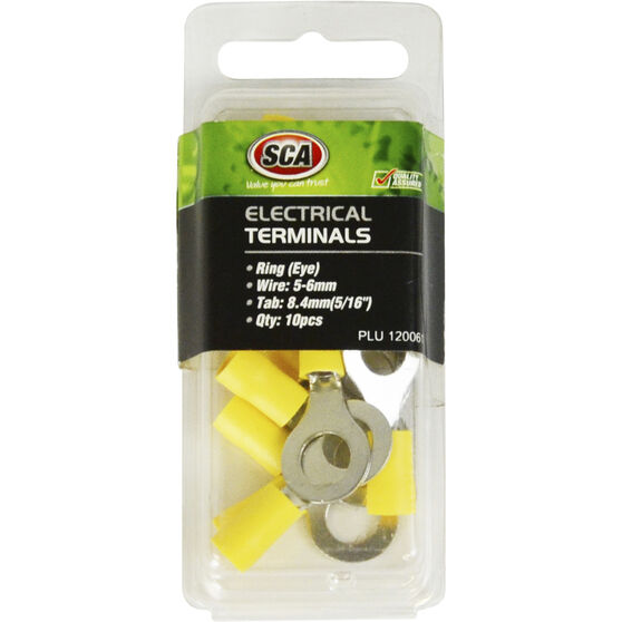 SCA Electrical Terminals - Ring (Eye), Yellow, 8.4mm, 10 Pack, , scanz_hi-res