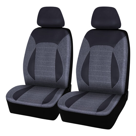 SCA PU Leather Look & Linen Look Seat Covers - Black/Grey, Adjustable Headrests, Size 30, Airbag Compatible, , scanz_hi-res