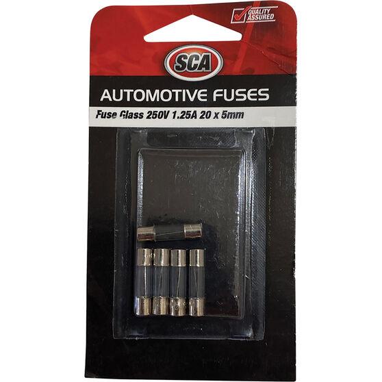 SCA Fuse Glass - GF125-3, 250V, 1.25 AMP, 5pce, , scanz_hi-res