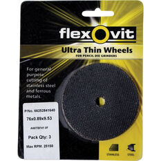 Flexovit Cut Off Wheel - 76mm x 0.89mm x 9.53mm, 3 Pack, , scanz_hi-res
