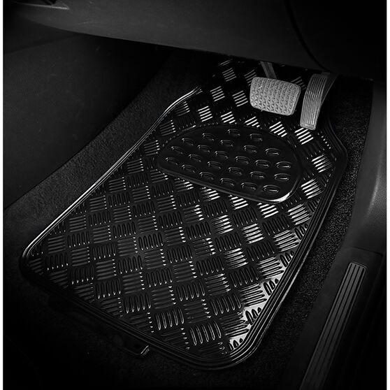 SCA Checkerplate Car Floor Mats PVC Black Set of 4, , scanz_hi-res