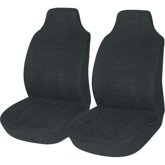 Suede Velour Seat Covers - Black, Built-in Headrests, Size 60, Front Pair, Airbag Compatible, , scanz_hi-res