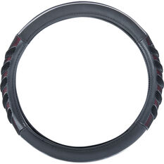 SCA Steering Wheel Cover - Leather Look & Rubber, Black and Red, 380mm diameter, , scanz_hi-res