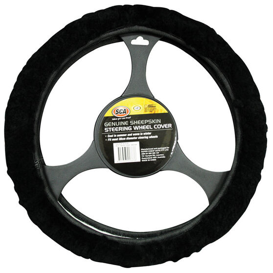 SCA Steering Wheel Cover - Sheepskin, Black, 380mm diameter, , scanz_hi-res