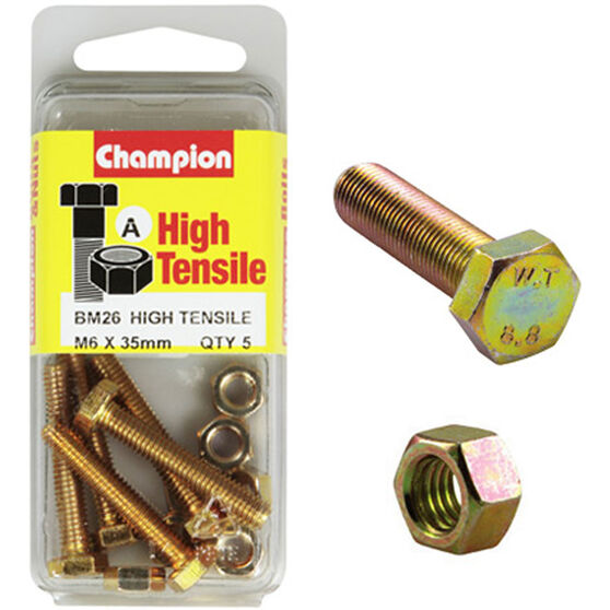 Champion High Tensile Bolts and Nuts - M6 X 35, , scanz_hi-res
