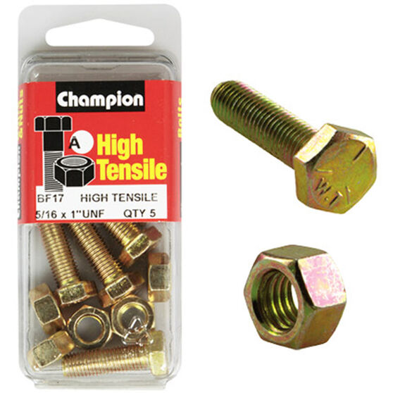 Champion High Tensile Bolts and Nuts - UNF 1inch X 5 / 16inch, , scanz_hi-res