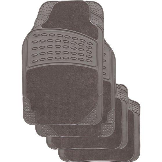 Combo Car Floor Mats - Carpet & Rubber, Grey, Set of 4, , scanz_hi-res
