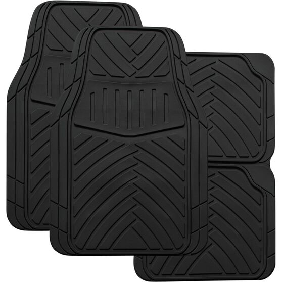 SCA Stripes Car Floor Mats - Synthetic Rubber, Black, Set of 4, , scanz_hi-res