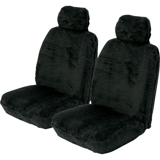 SCA Comfort Fur Seat Covers - Black, Adjustable Headrests, Size 30, Front Pair, Airbag Compatible, , scanz_hi-res