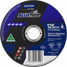 Norton Metal Cut off Disc - 125mm x 1.0mm x 22mm, , scanz_hi-res