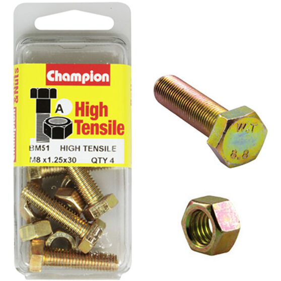 Champion High Tensile Bolts and Nuts - M8 X 30, , scanz_hi-res