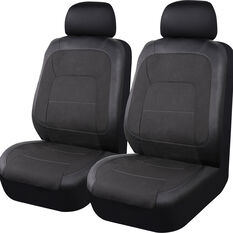 SCA PU Leather Look and Flax Seat Covers - Black Adjustable Headrests Airbag Compatible Size 30, , scanz_hi-res
