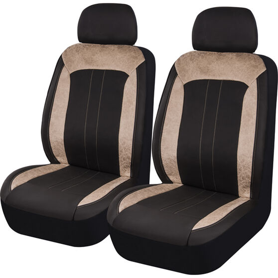 SCA Velour & Leather Look Seat Covers - Black and Tan, Adjustable Headrests, Size 30, Front Pair, Airbag Compatible, , scanz_hi-res
