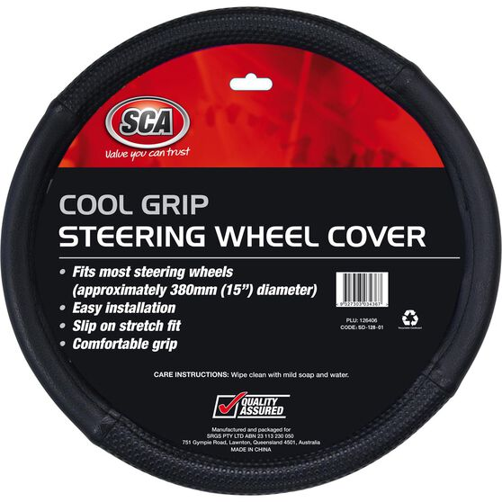 SCA Steering Wheel Cover - Cool Grip, Black, 380mm diameter, , scanz_hi-res