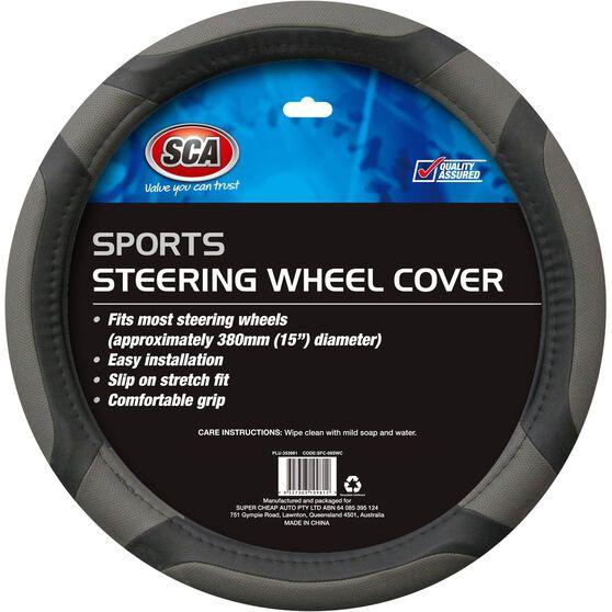 Steering Wheel Cover - Sports, Grey, 380mm diameter, , scanz_hi-res