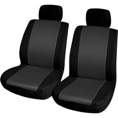 Essentials Honeycomb Seat Covers - Black & Charcoal, Adjustable Headrests, Size 30, Front Pair, , scanz_hi-res