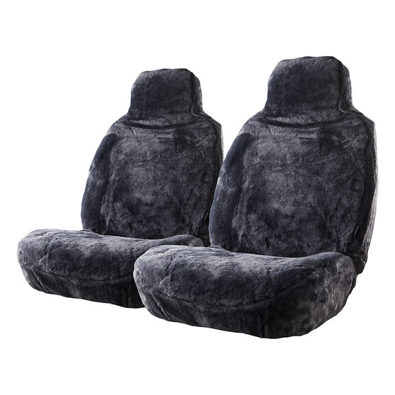 Gold Cloud Sheepskin Seat Covers - Black Built-in Headrests Size 60 Front Pair Airbag Compatible Slate, Slate, scanz_hi-res