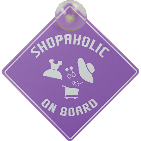 Shopaholic on Board Car Sign, , scanz_hi-res