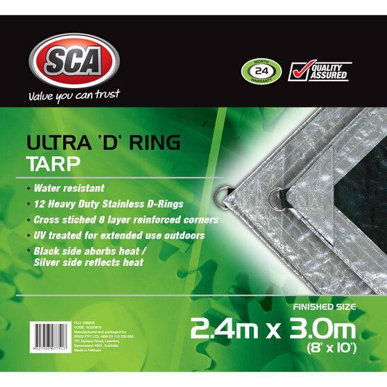 SCA Ultra D-Ring Poly Tarp - 2.4m X 3.0m (8 X 10), 205GSM, Silver, , scanz_hi-res