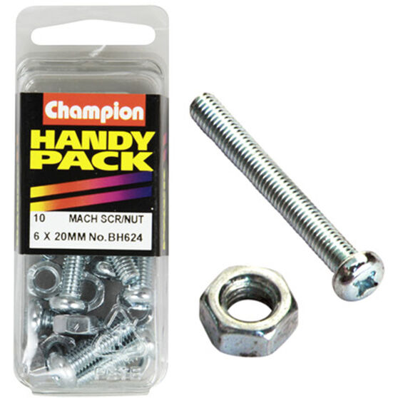 Champion Mach Screws / Nuts - 6mm X 20mm, BH624, Handy Pack, , scanz_hi-res