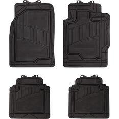 Semi-Tailored Floor Mats Sedan/Hatch Black Set of 4, , scanz_hi-res