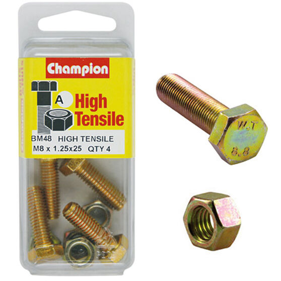 Champion High Tensile Bolts and Nuts - M8 X 25, , scanz_hi-res