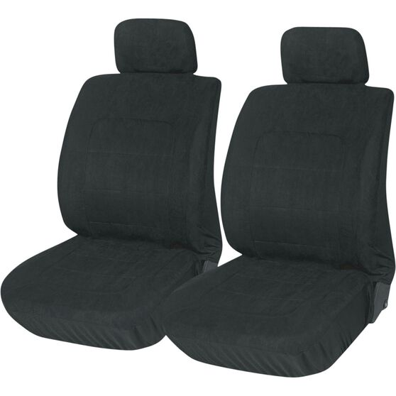 Suede Velour Seat Covers - Black Adjustable Headrests Size 30 Front Pair Airbag Compatible, , scanz_hi-res