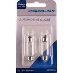 Enduralight Festoon Bulb - 12V, 18W, 15 x 41mm, ENDG1018, , scanz_hi-res