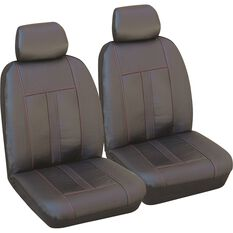Leather Look Seat Cover - Black & Red, Adjustable Headrests, , scanz_hi-res