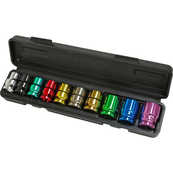 ToolPRO Impact Socket Set - 1 / 2inch Drive, Metric, 10 Piece, Coloured, , scanz_hi-res