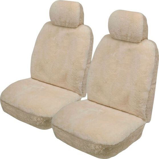 Gold Cloud Sheepskin Seat Covers - Adjustable Headrests, Size 30, Front Pair, Airbag Compatible Bone, Bone, scanz_hi-res