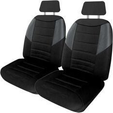 Seat Covers - Black & Grey, Adjustable Headrests, Size 30, Front Pair, Airbag Compatible, , scanz_hi-res