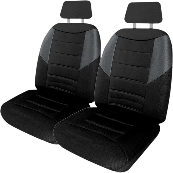 Carbon Mesh Seat Covers - Black and Grey, Adjustable Headrests, Size 30, Front Pair, Airbag Compatible, , scanz_hi-res